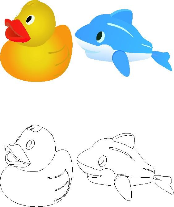 Paperella e delfino da colorare e colorati appunti di scuola for Delfino disegno da colorare