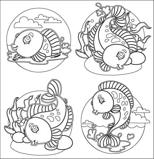 Pesciolini da colorare e ritagliare appunti di scuola for Disegni da colorare pesciolini