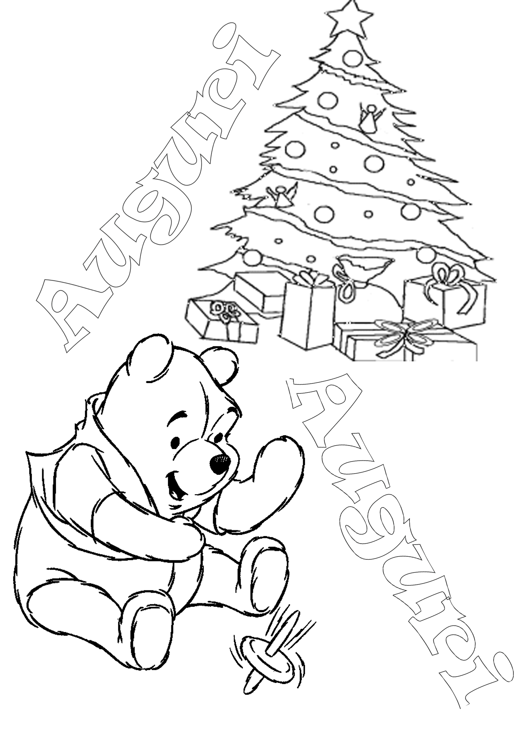 Winnie The Pooh Da Colorare Auguri Di Natale Appunti Di Scuola