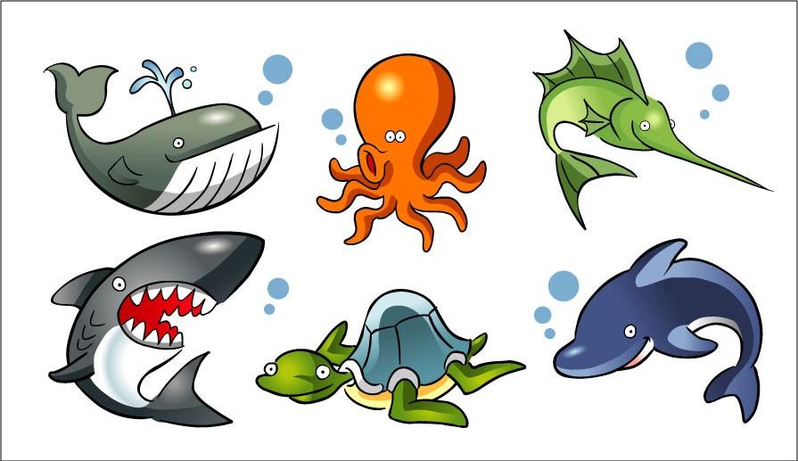 Animali Marini Da Colorare E Ritagliare Squali Tartarughe Delfini